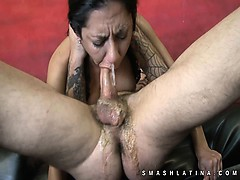 Very rough mouth fuck of latina cutie