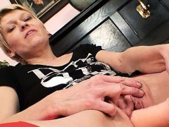 Mature wife wears stockings and masturbate with a big